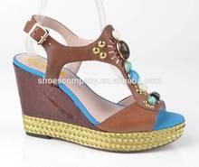 Splendid Colorful jewellled up women jute wedge sandal