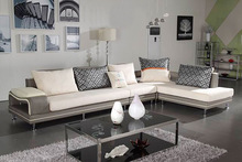 Modern Gray Fabric + PU Leather Sectional Sofa Set Reversible Chaise Couch