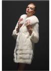 mk14615 New fashion women winter midium long real mink hair/fur coat with fox collar modern ladies winter long fur overcoat