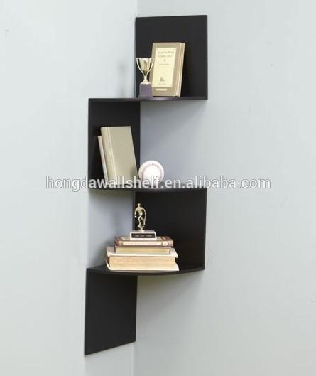 3 tier zig zag en bois tag re d 39 angle noir autres meubles for Meuble zig zag