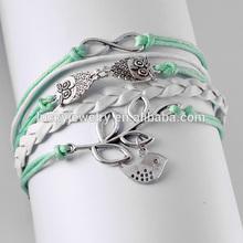 NEW Infinity Owl bird friendship Leather Charm Bracelets