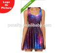 nuevo 2014 las mujeres sexy vestido de galaxy de dibujos animados de aventura tiempo patinador vestido caliente