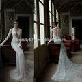 2014 novo estilo custom vestidos sereia laço v- pescoço backless long mangas formal longo comboio de casamento vestido wd0615
