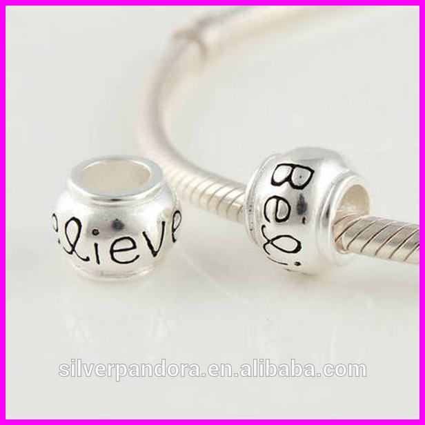 En popüler gümüş için alfabe boncuk tıknaz zincir, alfabe kaydırıcı boncuk ve gümüş mektup boncuk
