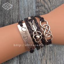 2014 New one direction 1D Charm Wax Cords Leather Bracelet,arrow bracelet