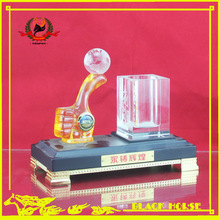 desktop stationery set with thumb up pen holder