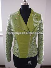 2014 Lace Green / Washed PU Apparel / Clothing / Fashion Ladies PU jacket