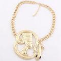 De la reina egipcia nefertiti& serpiente con colgantes de la cadena chunky collar- tono oro de envío gratis