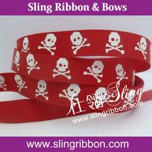 "Wholesale Halloween Custom 5/8"" Skull Foil Printed Grosgrain Ribbon"