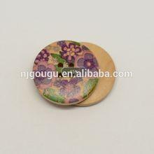 violet floral pattern wooden button