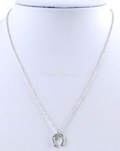 Tiny pave horseshoe pendent necklace