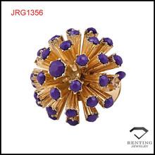 jewelry factory making rhinestone alloy flower women elastic finger ring