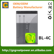Battery manufacturer for Nokia 4C 500mAh 3.7V battery BL4C replacement cell battery