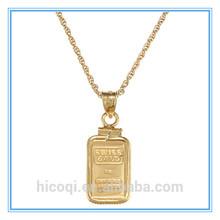 Qi Nuan 316L Stainless Steel American Coin Treasures 1-gram Gold Ingot Pendant