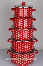 5pcs Persimmon type enamel casserole,Turkey pot,enamel cooking pot with glass cover
