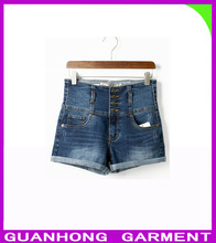Europe and the United States four grain of cultivate one's morality corset buckles high waist jeans shorts the new spring 2014