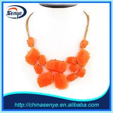 hot sale new fashion orange resin brand necklace