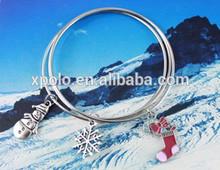 Newest December design simple wire epoxy Christmas tree/snow flake/socks charm bracelet