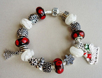 Newest white with red European beads linked style Santa Claus car charm bracelet/snowman charm and Christmas tree charm bracelet