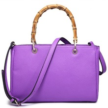 European pure color leather 2014 wholesale bamboo handles for handbags