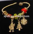 Dernière mode européenne perles de style arbre de noël/flocon de neige/père noël bracelet à breloques