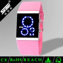 Diaphanous women binary touch screen led watch