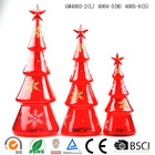 New design Canton Fair red color led light glass cone christmas tree factory sale