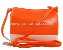 Orange cute jelly bag manufacturer women transparent pvc handbag