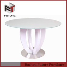 modern white high gloss round dining room table