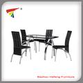 modern metal e vidro mesa de jantar conjunto