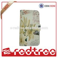 Elegant flower leather mobile phone wallet case for samsung s3 s4 s5