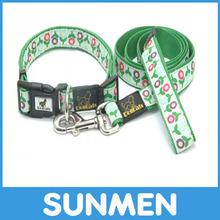 Flower printed high quality nylon made retractable pet/ dog collar leash