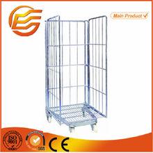 Supermarket metal wire mesh storage roll handling trolley