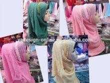 PR024 Popular handmade pink two layer beading superb muslim long scarf