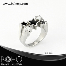 Fashion stainless steel eastern star of david ring