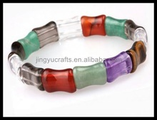 Natural Semi-precious Stone Jewelry Natural Colorful Gemstone Bone Beaded Stretch Chakra Bracelet For Women &Man