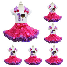 Hot Pink Purple Pettiskirt Bling Purple 1 2 3 4 5 6 Embroidered Doc McStuffins White Tee Birthday Party Dress
