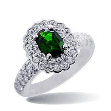 2SHE Fashion Trend Elegant emerald silver ring