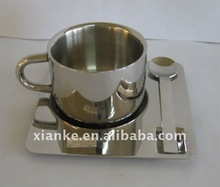 Good Quality Stainless Steel Coffee Cup with Saucer and Spoon