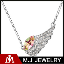 2014 fashion luxury Austrian Crystal Jewelry Necklace big diamond women charming angel wing necklace S-N01167