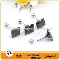 Stainless steel black fack diamond stud earrings