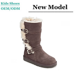 Factory custom ladies fur lined long warm boots durable winter kids shoes