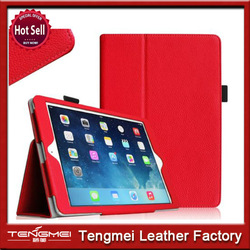 Red leather case for ipad air,luxury more leather case for ipad 5,leather for ipad air case