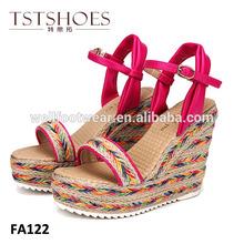 2014 fashion high quality ladies wedge sandals shoes, hemp rope peep toe wedge sandal 2014 new wedges lady sandals shoes