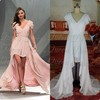 100% Similarity V-Neck Cap Sleeve Front Short Long Back White And Pink Color Celebrity Red Carpet Dress
