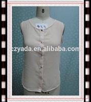 2015 ladies front open tops chiffon blouse