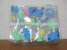 2014 Fashion cute cartoon clear plastic pvc bag with snap