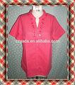 Moda corta marca de fábrica superior de Coral de manga camisa Formal desgaste mujeres de la blusa