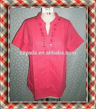 Fashion Top Brand Short Sleeve Coral Shirt Formal Wear Women Blouse