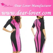 Hong Kong fashion colorblock midi dress